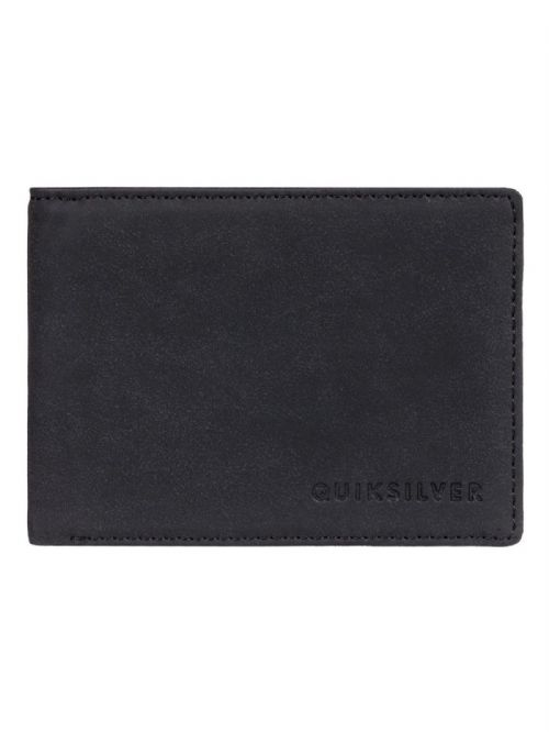 QUIKSILVER MENS WALLET.SLIM VINTAGE FAUX LEATHER BLACK MONEY CARD PURSE 9S 64 K